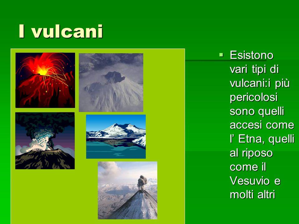 I vulcani Esistono vari tipi di vulcani:i più pericolosi sono quelli accesi come l' Etna, quelli al riposo come il Vesuvio e molti altri.