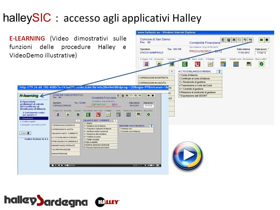 halleySIC : accesso agli applicativi Halley