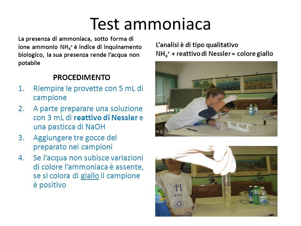 Test ammoniaca PROCEDIMENTO Riempire le provette con 5 mL di campione