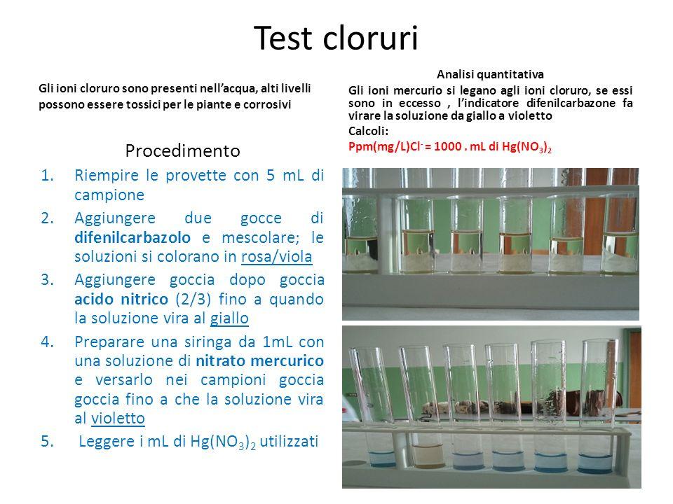 Test cloruri Procedimento Riempire le provette con 5 mL di campione