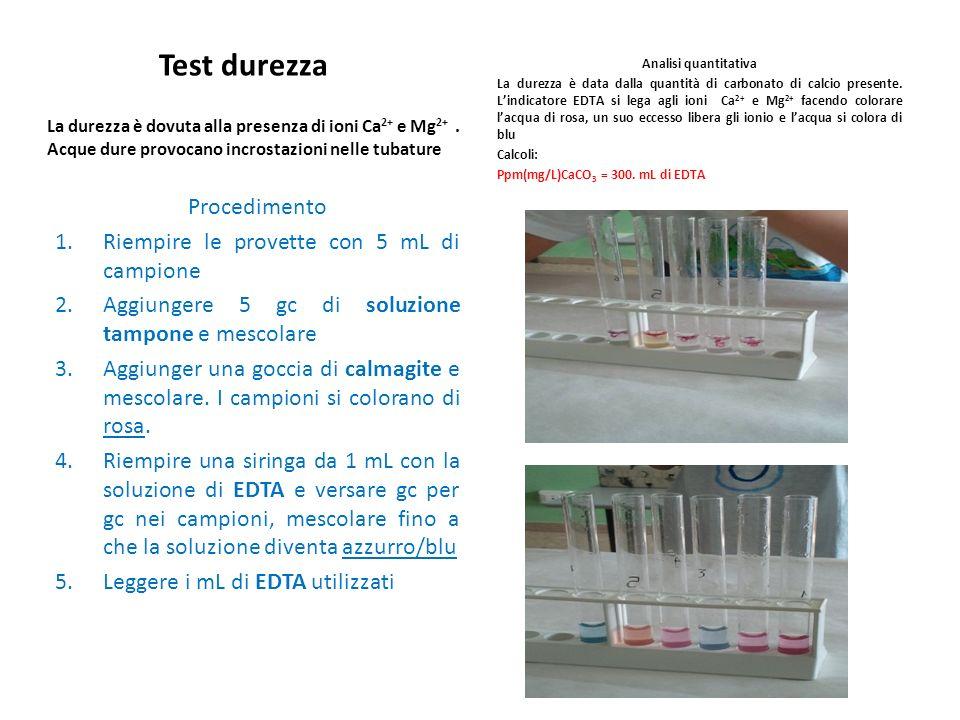 Test durezza Procedimento Riempire le provette con 5 mL di campione