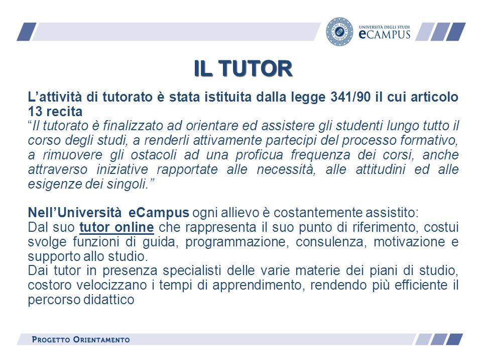 IL TUTOR IL TUTOR. L'attività di tutorato è stata istituita dalla legge 341/90 il cui articolo 13 recita.