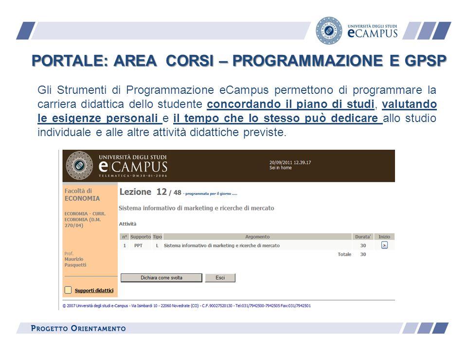 PORTALE: AREA CORSI – PROGRAMMAZIONE E GPSP