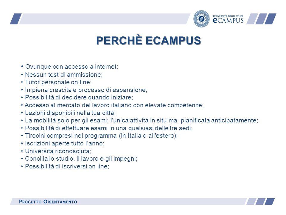 PERCHÈ ECAMPUS Ovunque con accesso a internet;