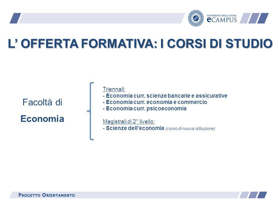 L' OFFERTA FORMATIVA: I CORSI DI STUDIO