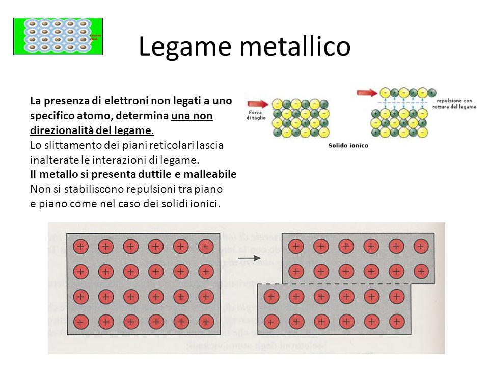Legame metallico La presenza di elettroni non legati a uno