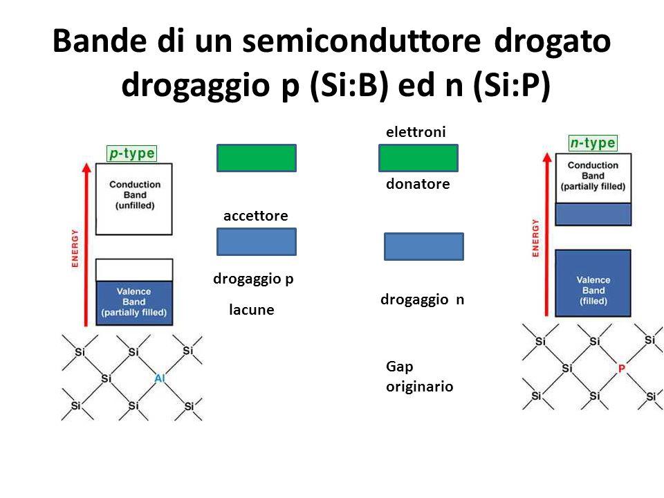 Bande di un semiconduttore drogato drogaggio p (Si:B) ed n (Si:P)