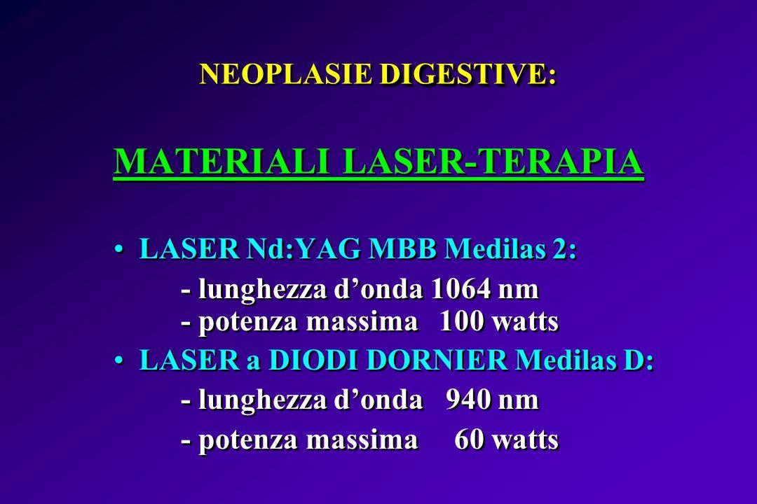 NEOPLASIE DIGESTIVE: MATERIALI LASER-TERAPIA
