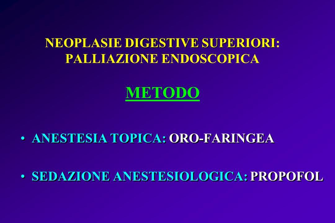 NEOPLASIE DIGESTIVE SUPERIORI: PALLIAZIONE ENDOSCOPICA METODO