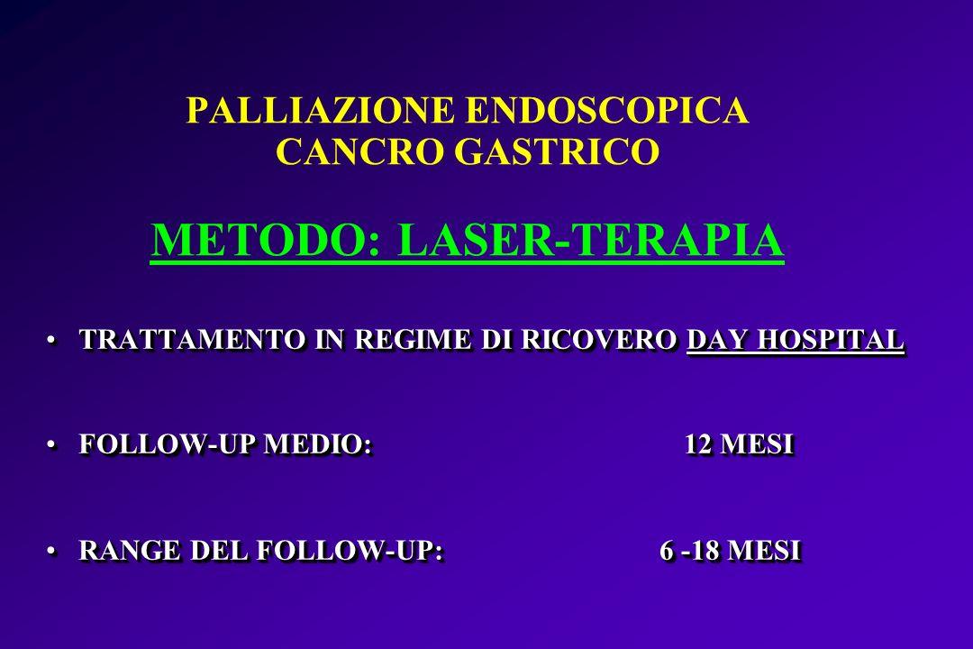 PALLIAZIONE ENDOSCOPICA CANCRO GASTRICO METODO: LASER-TERAPIA