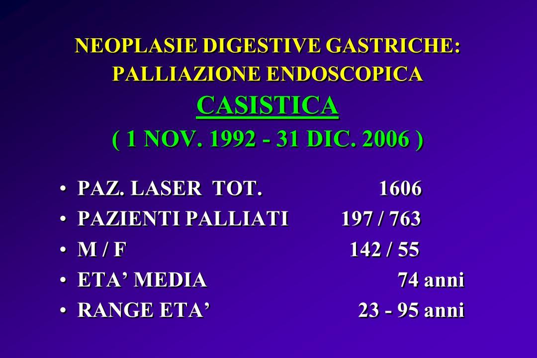NEOPLASIE DIGESTIVE GASTRICHE: PALLIAZIONE ENDOSCOPICA CASISTICA ( 1 NOV. 1992 - 31 DIC. 2006 )