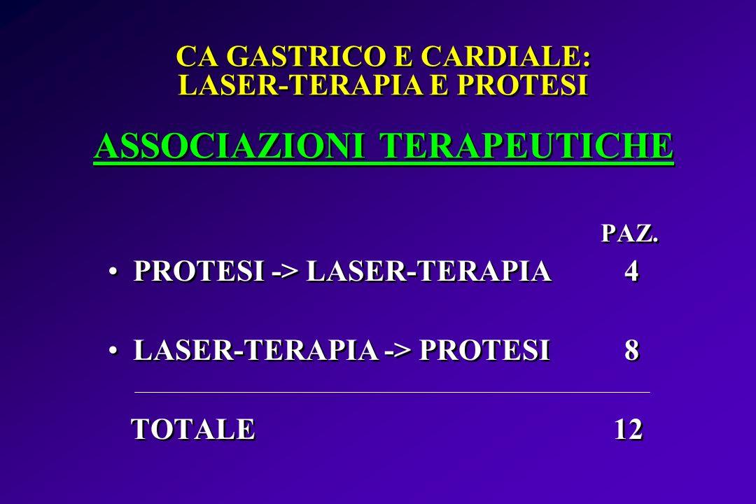 CA GASTRICO E CARDIALE: LASER-TERAPIA E PROTESI ASSOCIAZIONI TERAPEUTICHE