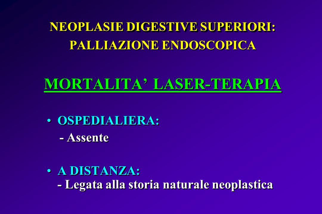 NEOPLASIE DIGESTIVE SUPERIORI: PALLIAZIONE ENDOSCOPICA MORTALITA' LASER-TERAPIA