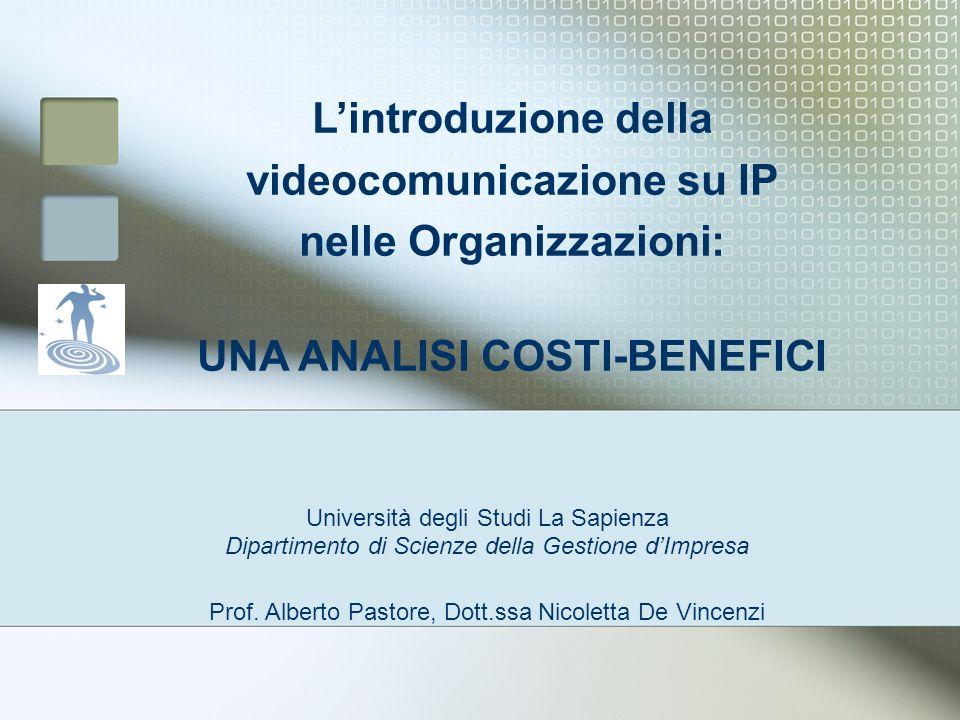 L'introduzione della videocomunicazione su IP nelle Organizzazioni: UNA ANALISI COSTI-BENEFICI