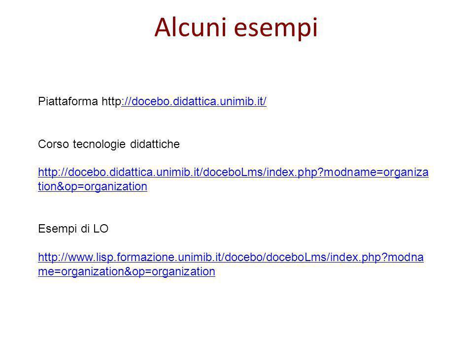 Alcuni esempi Piattaforma http://docebo.didattica.unimib.it/