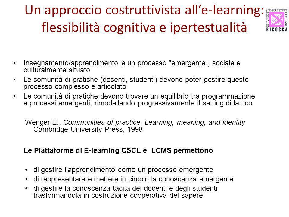 Un approccio costruttivista all'e-learning: flessibilità cognitiva e ipertestualità
