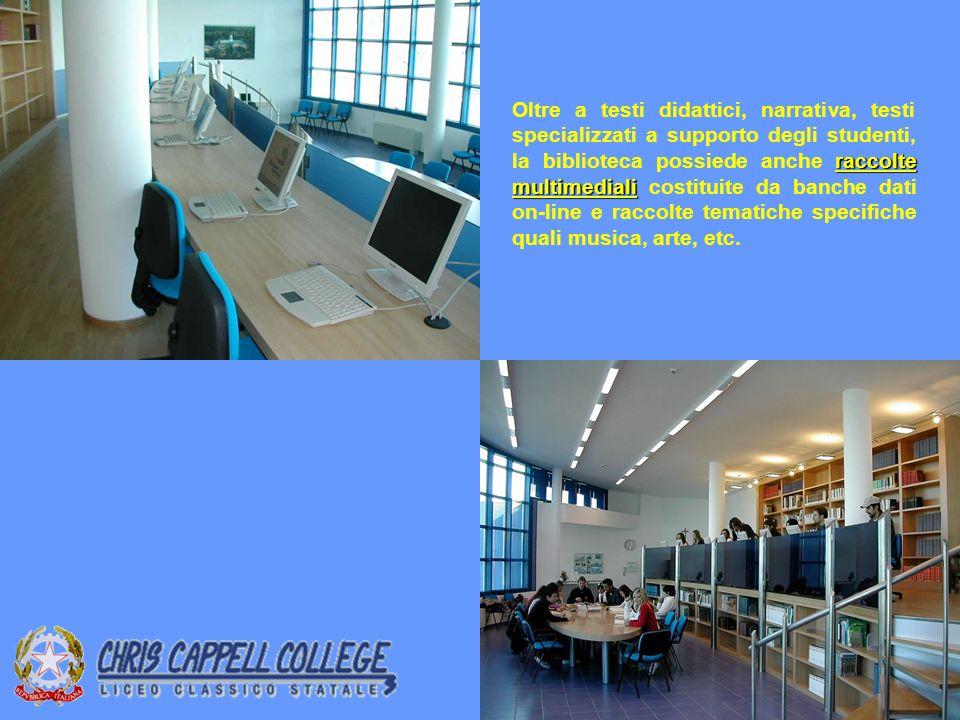 Oltre a testi didattici, narrativa, testi specializzati a supporto degli studenti, la biblioteca possiede anche raccolte multimediali costituite da banche dati on-line e raccolte tematiche specifiche quali musica, arte, etc.