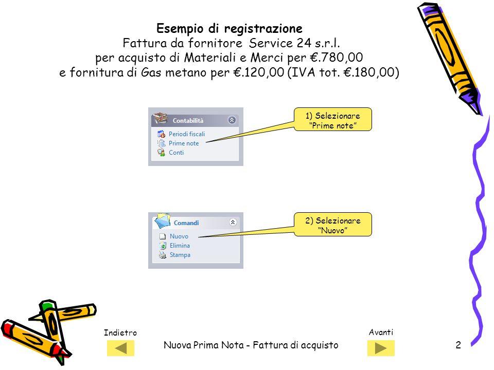Esempio di registrazione