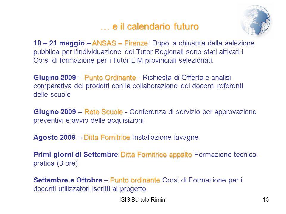 … e il calendario futuro