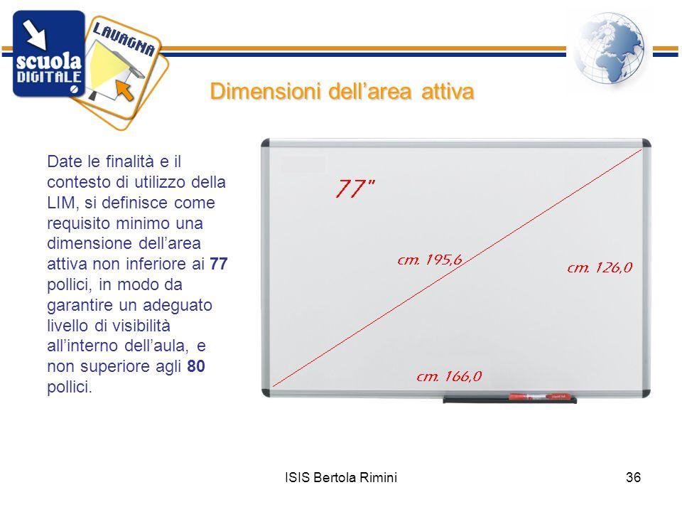 Dimensioni dell'area attiva