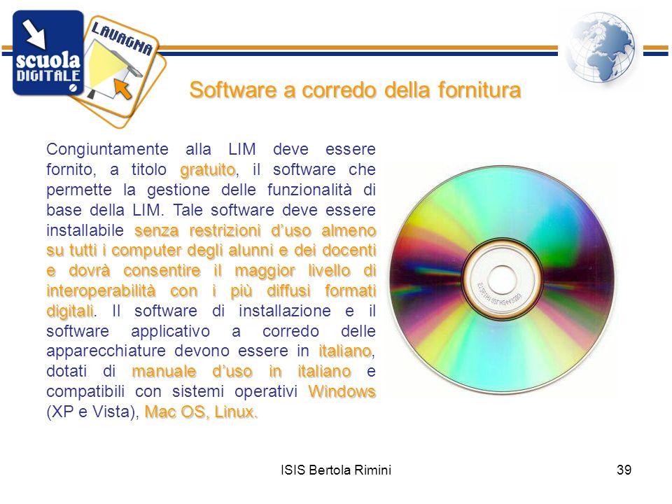 Software a corredo della fornitura