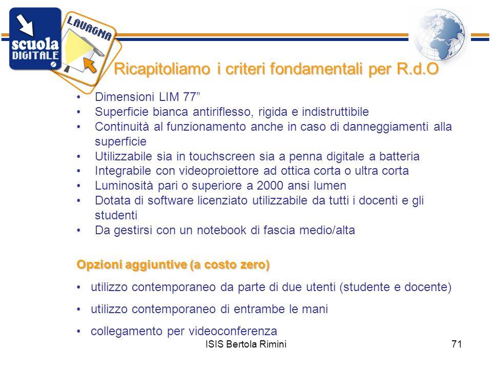 Ricapitoliamo i criteri fondamentali per R.d.O