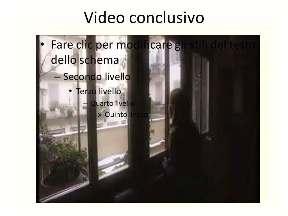 Video conclusivo Fare clic per modificare gli stili del testo dello schema. Secondo livello. Terzo livello.