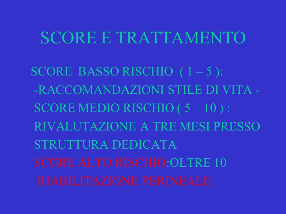 SCORE E TRATTAMENTO SCORE BASSO RISCHIO ( 1 – 5 ):