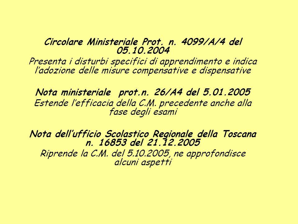 Circolare Ministeriale Prot. n. 4099/A/4 del 05.10.2004
