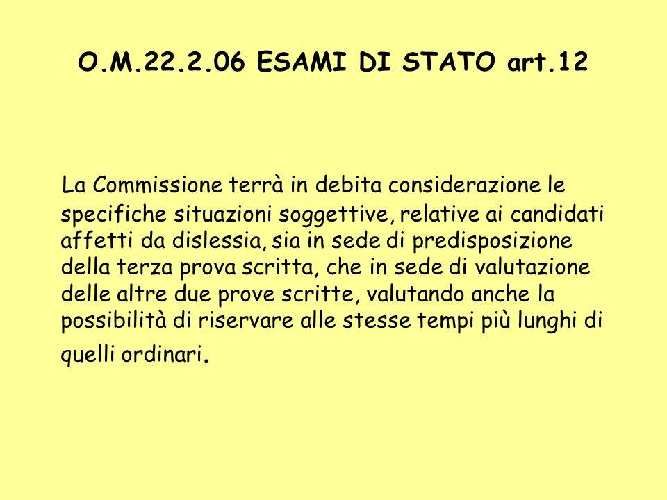 O.M.22.2.06 ESAMI DI STATO art.12