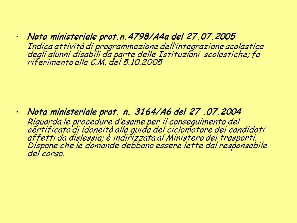 Nota ministeriale prot.n.4798/A4a del 27.07.2005