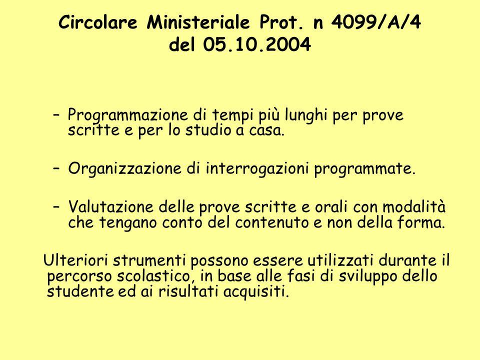 Circolare Ministeriale Prot. n 4099/A/4 del 05.10.2004