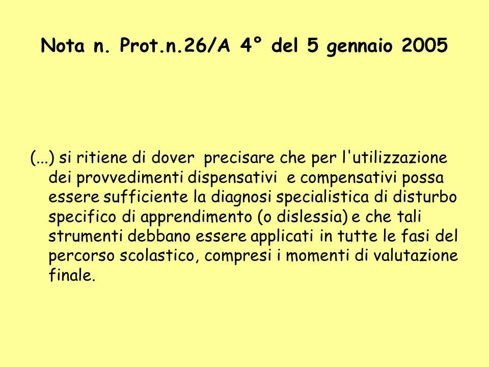 Nota n. Prot.n.26/A 4° del 5 gennaio 2005