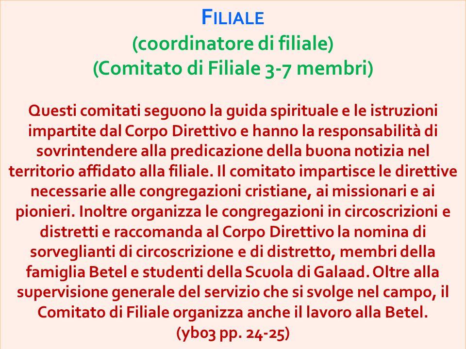 (coordinatore di filiale) (Comitato di Filiale 3-7 membri)