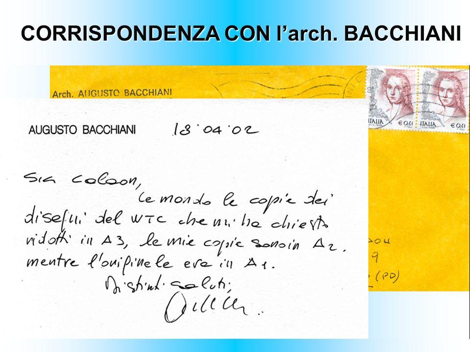 CORRISPONDENZA CON l'arch. BACCHIANI