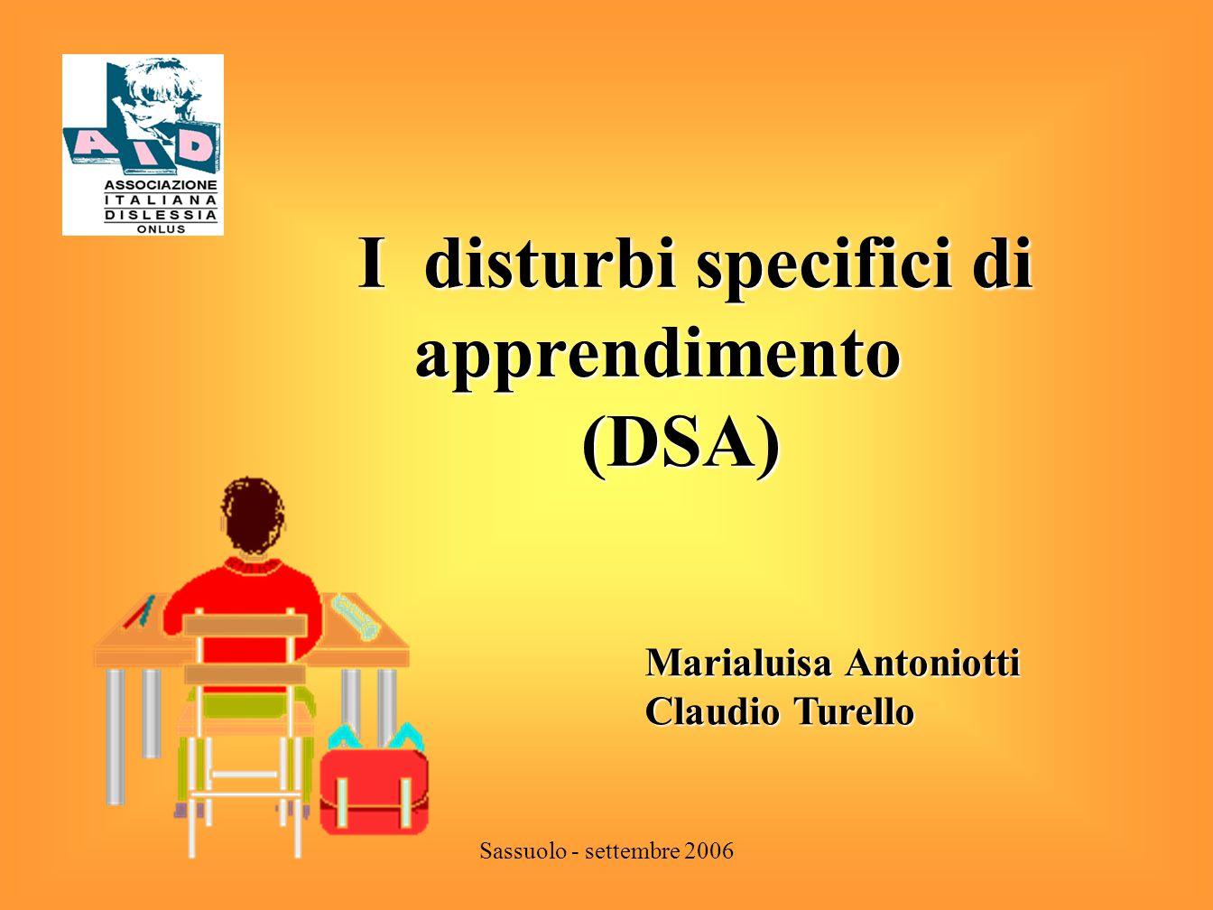 I disturbi specifici di apprendimento (DSA)