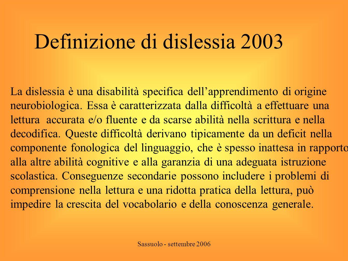 Definizione di dislessia 2003