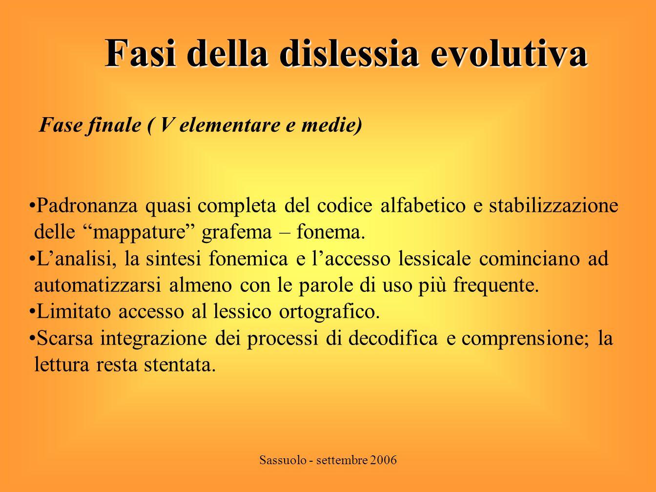 Fasi della dislessia evolutiva