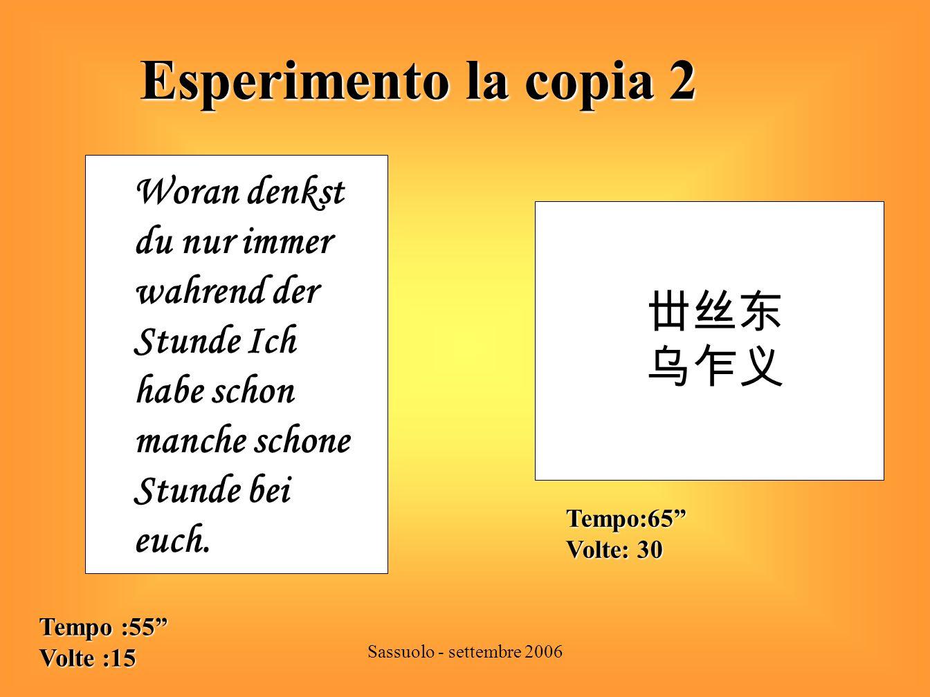 Esperimento la copia 2 丗丝东 乌乍义 Woran denkst du nur immer wahrend der
