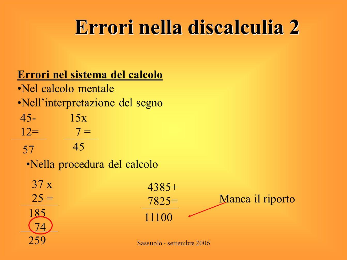 Errori nella discalculia 2