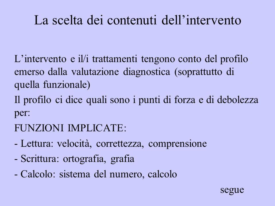 La scelta dei contenuti dell'intervento
