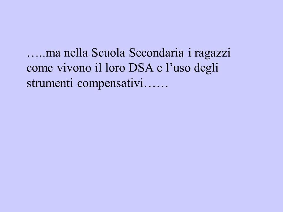 …..ma nella Scuola Secondaria i ragazzi come vivono il loro DSA e l'uso degli strumenti compensativi……