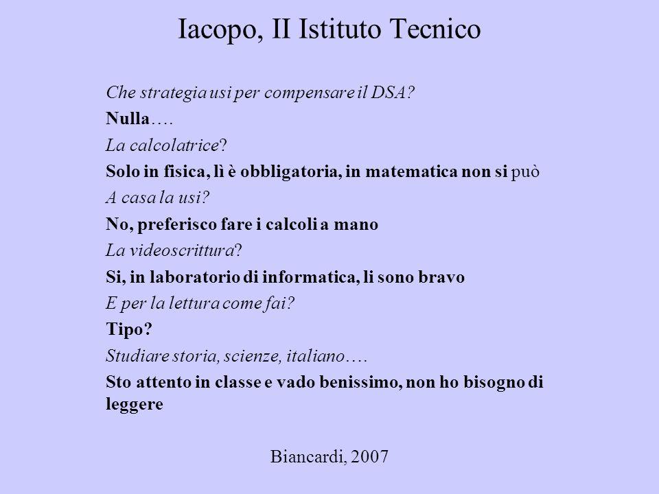 Iacopo, II Istituto Tecnico