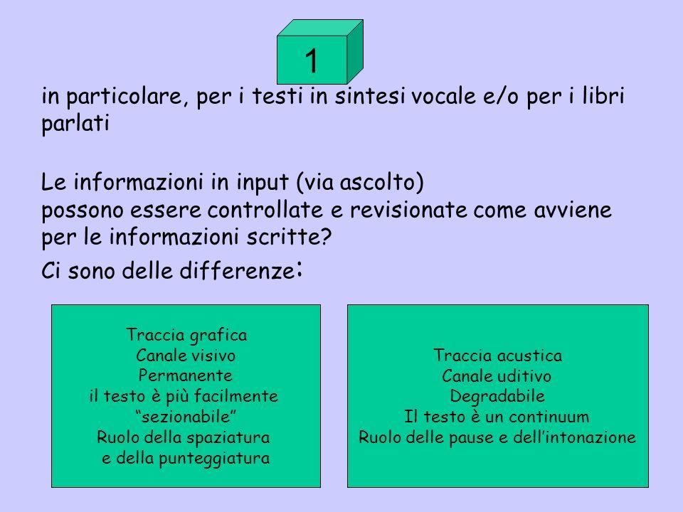 in particolare, per i testi in sintesi vocale e/o per i libri parlati Le informazioni in input (via ascolto) possono essere controllate e revisionate come avviene per le informazioni scritte Ci sono delle differenze: