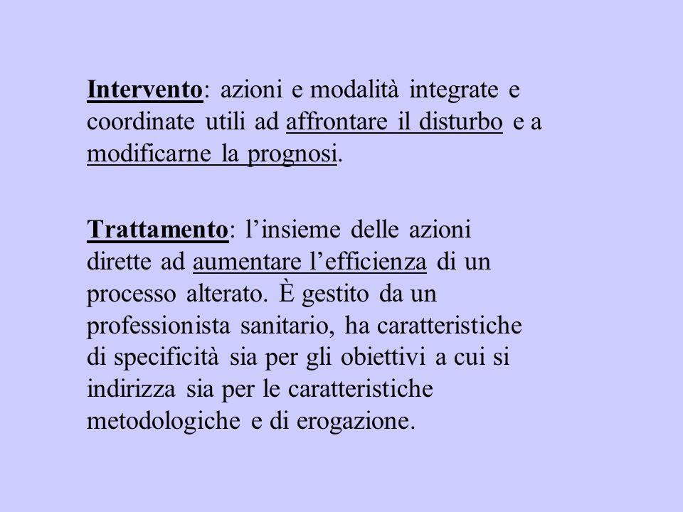 Intervento: azioni e modalità integrate e coordinate utili ad affrontare il disturbo e a modificarne la prognosi.