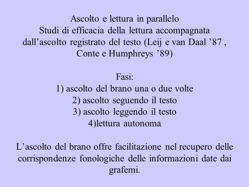 Ascolto e lettura in parallelo Studi di efficacia della lettura accompagnata dall'ascolto registrato del testo (Leij e van Daal '87 , Conte e Humphreys '89) Fasi: 1) ascolto del brano una o due volte 2) ascolto seguendo il testo 3) ascolto leggendo il testo 4)lettura autonoma L'ascolto del brano offre facilitazione nel recupero delle corrispondenze fonologiche delle informazioni date dai grafemi.