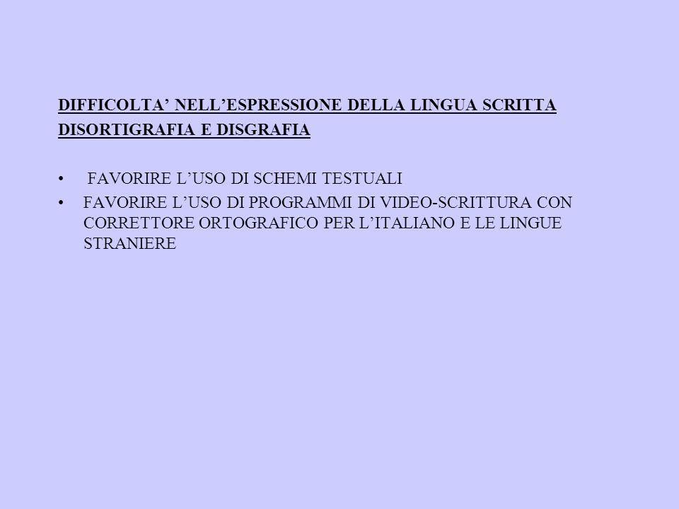 DIFFICOLTA' NELL'ESPRESSIONE DELLA LINGUA SCRITTA