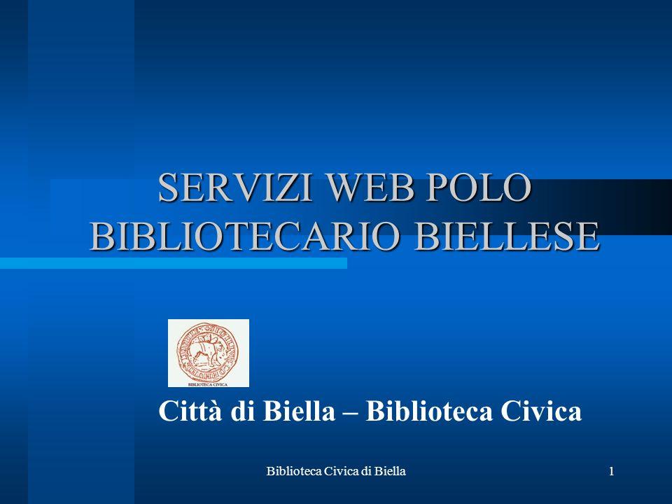SERVIZI WEB POLO BIBLIOTECARIO BIELLESE