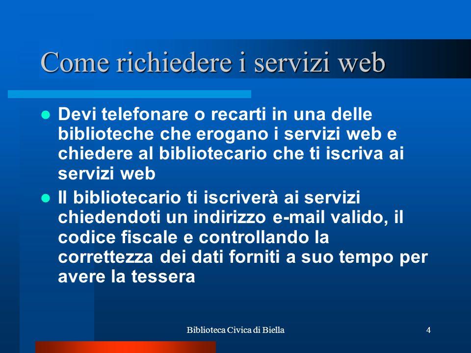 Come richiedere i servizi web
