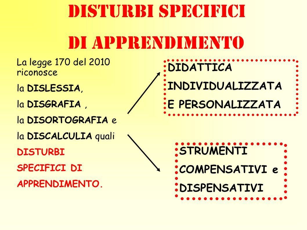 DISTURBI SPECIFICI DI APPRENDIMENTO DIDATTICA INDIVIDUALIZZATA